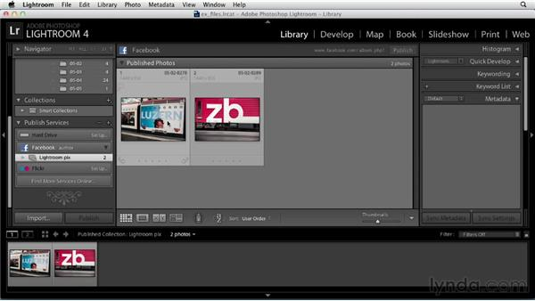 Sharing photos and video on Facebook: Up and Running with Lightroom 4
