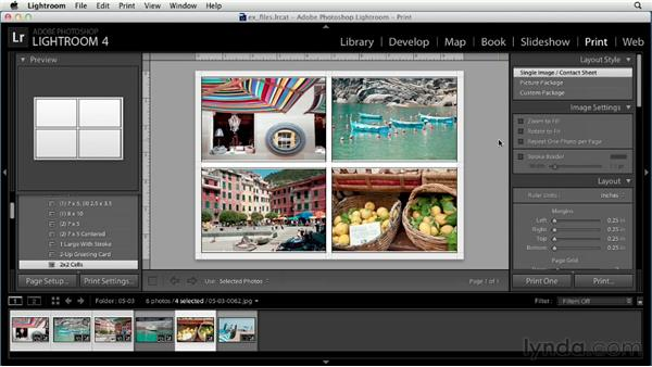 Printing photos: Up and Running with Lightroom 4