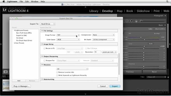 Exporting photos : Up and Running with Lightroom 4