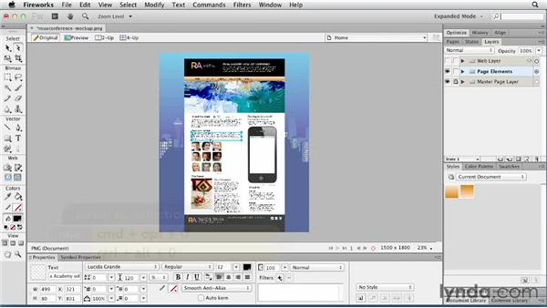Getting around your document and the Application bar: Fireworks CS6 Essential Training