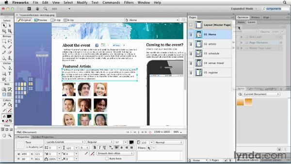 Working with panels: Fireworks CS6 Essential Training