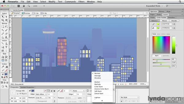 Applying opacity, blending modes, and Live Filters: Fireworks CS6 Essential Training