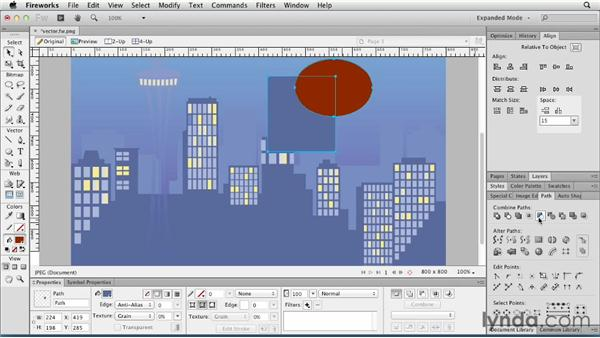 Reshaping with the Path panel: Fireworks CS6 Essential Training