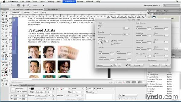 Working with the Commands menu: Fireworks CS6 Essential Training