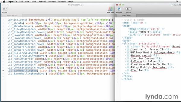 Exporting sprite CSS: Fireworks CS6 Essential Training