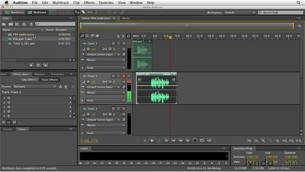 Creating a multitrack session: Audition CS6 Essential Training