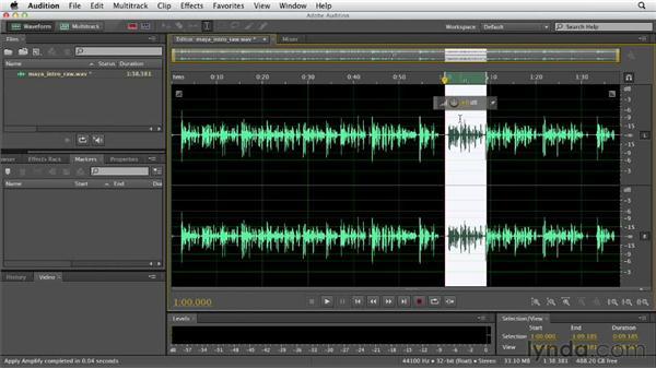 Adjusting the clip amplitude: Audition CS6 Essential Training