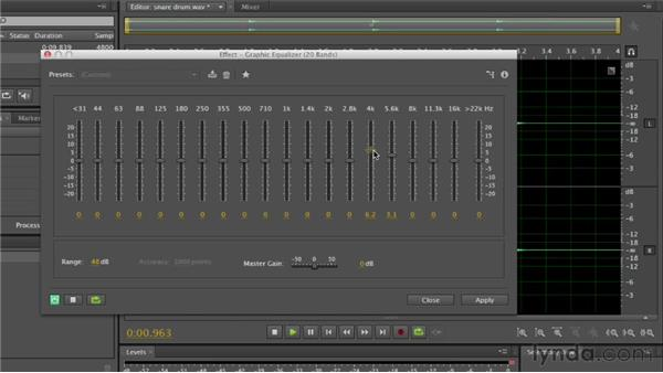 Working with filters and EQ effects: Audition CS6 Essential Training