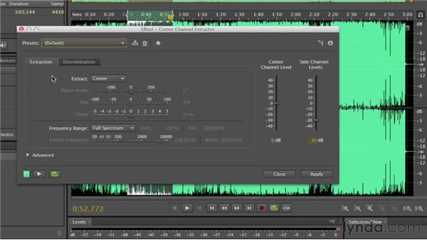 Isolating vocals in a stereo track: Audition CS6 Essential Training