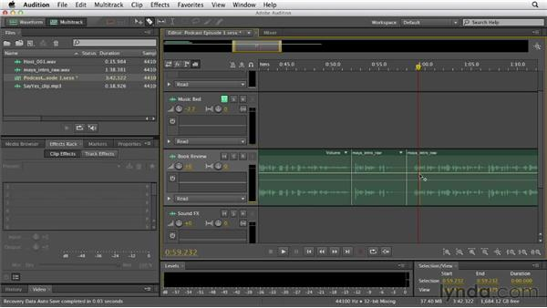 Editing clips in Multitrack View: Audition CS6 Essential Training