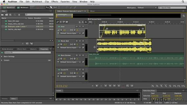 Grouping clips together: Audition CS6 Essential Training