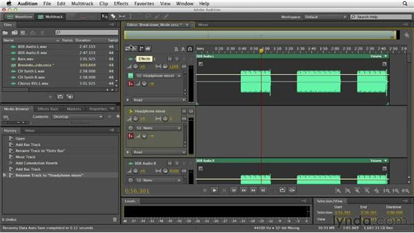 Routing and working with sends: Audition CS6 Essential Training