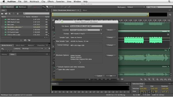 Exporting the mix: Audition CS6 Essential Training