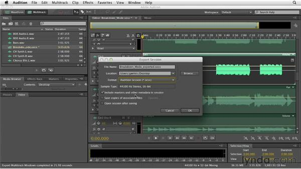 Exporting the session: Audition CS6 Essential Training