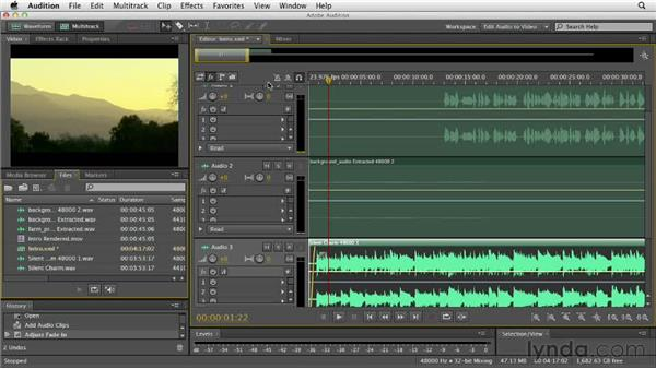 Adding a soundtrack to a video: Audition CS6 Essential Training