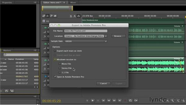 Exporting a session back to Premiere Pro: Audition CS6 Essential Training