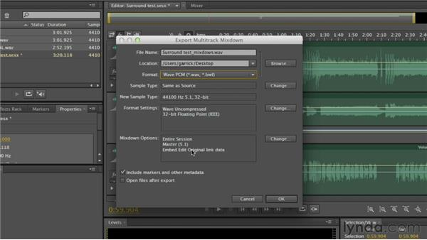 Exporting a multichannel mix: Audition CS6 Essential Training