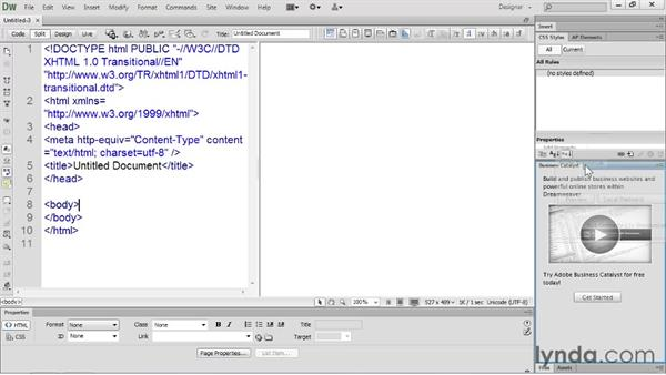 Arranging panels : Dreamweaver CS6 Essential Training