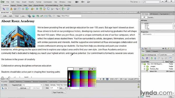 Working with the Property inspector: Dreamweaver CS6 Essential Training