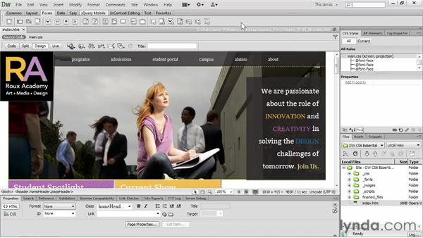 Using the Insert panel : Dreamweaver CS6 Essential Training