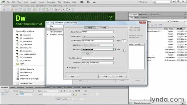 Adding remote servers: Dreamweaver CS6 Essential Training