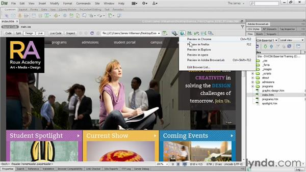 Previewing in browsers : Dreamweaver CS6 Essential Training