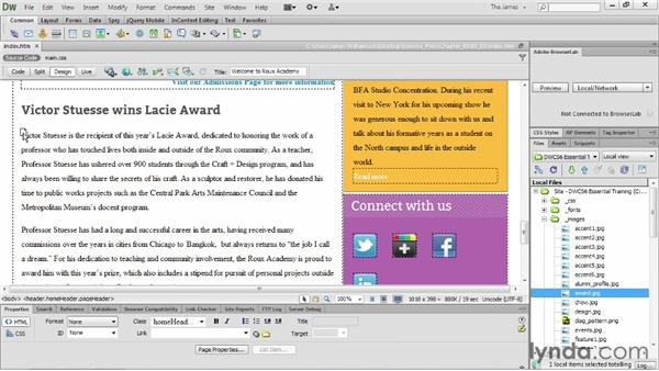 Setting accessibility preferences : Dreamweaver CS6 Essential Training
