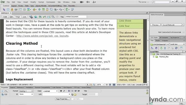 Working with starter pages: Dreamweaver CS6 Essential Training