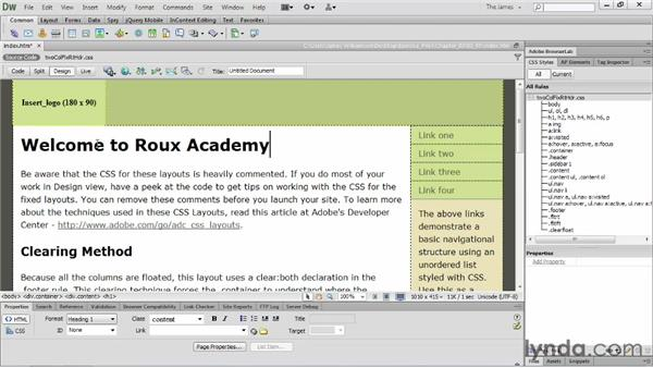 Managing starter pages: Dreamweaver CS6 Essential Training