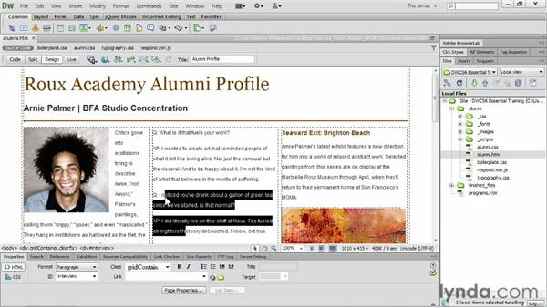 Creating definition lists: Dreamweaver CS6 Essential Training