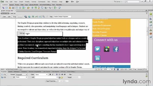 Using the Quick Tag Editor: Dreamweaver CS6 Essential Training
