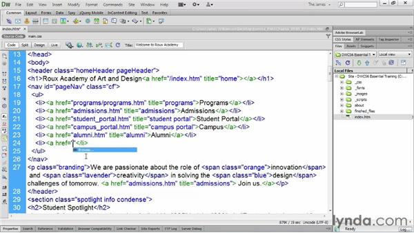 Using code hints : Dreamweaver CS6 Essential Training