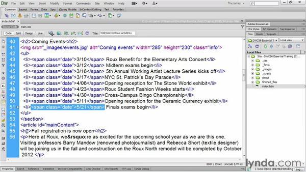 Wrapping tags: Dreamweaver CS6 Essential Training