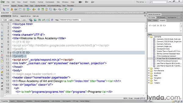 Using snippets: Dreamweaver CS6 Essential Training