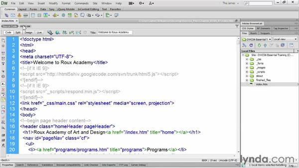 Formatting source code: Dreamweaver CS6 Essential Training