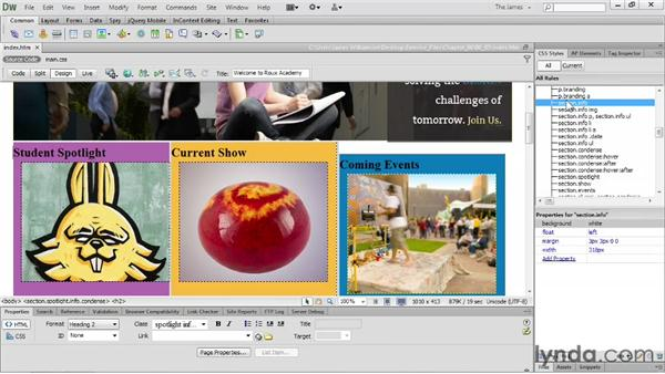 Creating a new CSS rule: Dreamweaver CS6 Essential Training