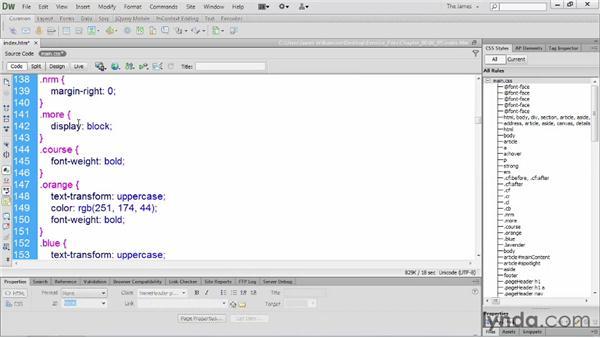Organizing styles: Dreamweaver CS6 Essential Training