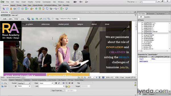 Modifying style properties: Dreamweaver CS6 Essential Training