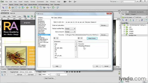 Setting external image editing preferences    : Dreamweaver CS6 Essential Training
