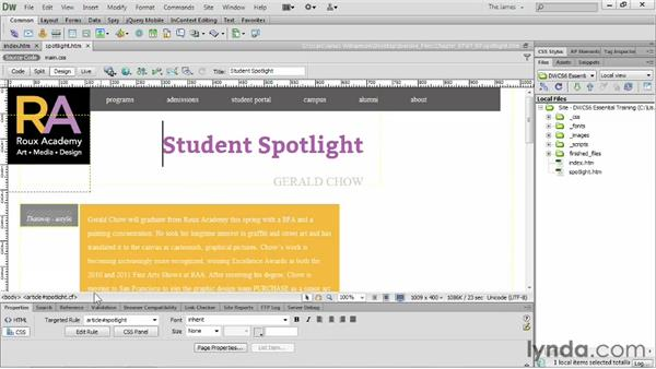 Placing images on the page : Dreamweaver CS6 Essential Training