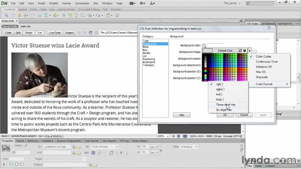 Styling images with CSS                    : Dreamweaver CS6 Essential Training