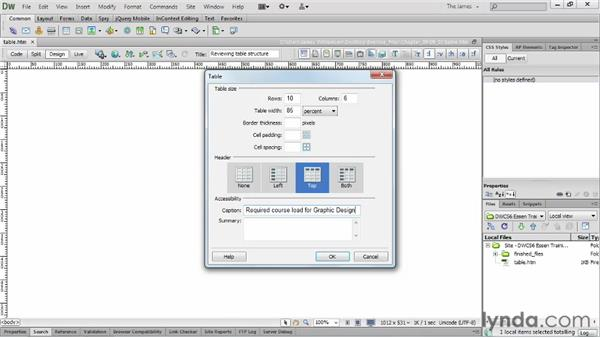 Reviewing table structure     : Dreamweaver CS6 Essential Training