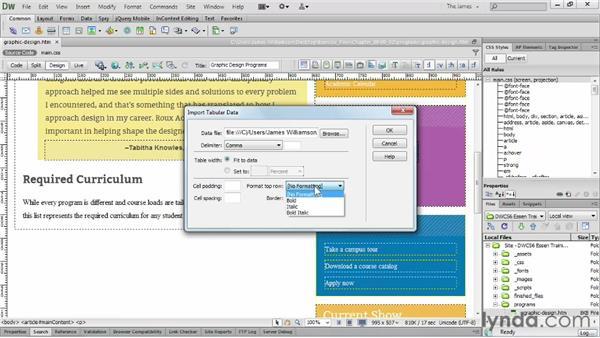 Importing tabular data     : Dreamweaver CS6 Essential Training