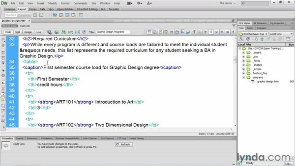 Creating accessible tables         : Dreamweaver CS6 Essential Training