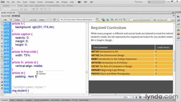 Styling alternate rows: Dreamweaver CS6 Essential Training