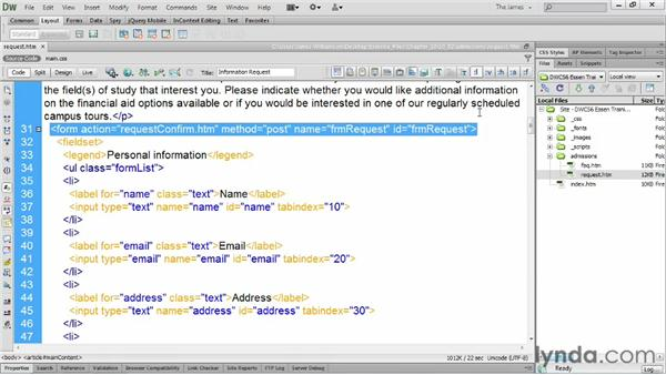 Reviewing form design    : Dreamweaver CS6 Essential Training