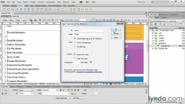 Inserting text fields : Dreamweaver CS6 Essential Training
