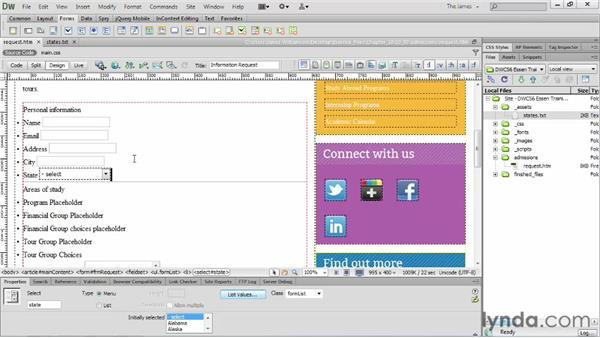 Inserting list menu items : Dreamweaver CS6 Essential Training