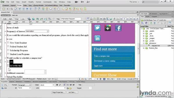 Inserting radio button groups : Dreamweaver CS6 Essential Training
