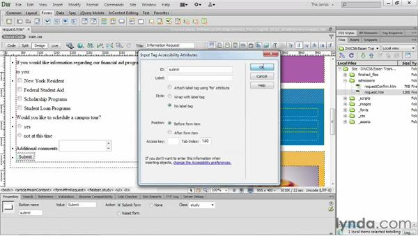 Inserting submit buttons : Dreamweaver CS6 Essential Training
